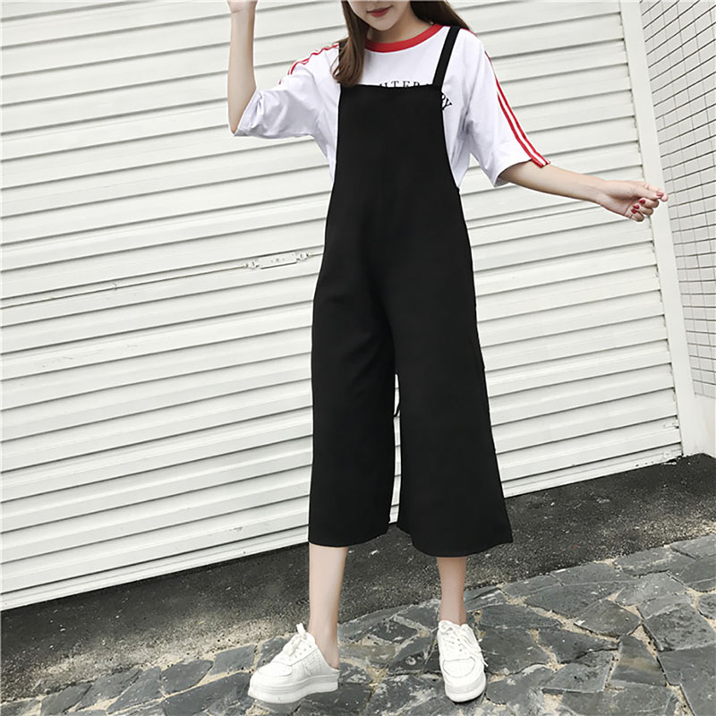 Women Fashion Loose Solid Color Pockets Straps Jumpsuit Ladies Casual Cotton Linen Sleeveless Wide Leg Harem Pants Oversized