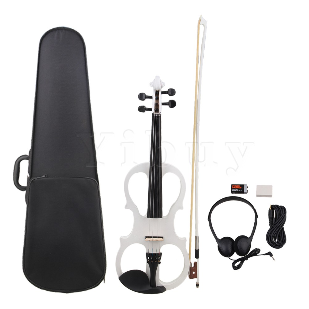 Yibuy Style I White Loaded Pickup 4/4 Electric Violin w/ Case Cable Headphone