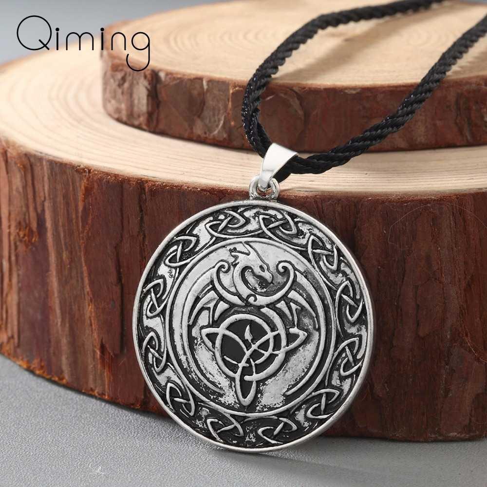 Valknut Viking Người Slav Vĩ Làm Chân Vòng Cổ nữ Nút Thắt Celtic Mặt Dây Chuyền Rồng Cổ Vĩ Làm Chân Charm Vintage Nam Trang Sức