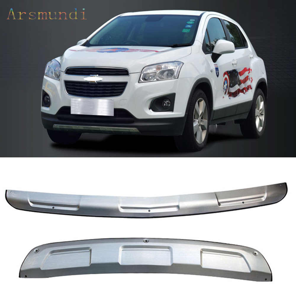 hight resolution of for chevrolet trax 2014 2016 stainless steel front rear bumper board guards board protect