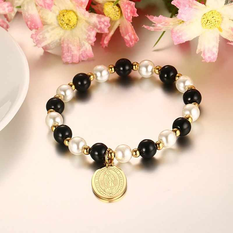 XUANPAI Virgin Mary Charm Bracelet Freshwater Pearl Glass Bead Gold Color Women Jewelry Fashion
