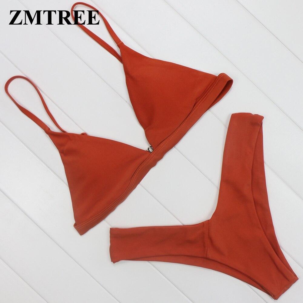 2017 Womens Solid Nude Sling Thongs Triangle Bikinis Set