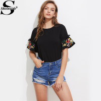 Sheinside Embroidery Drawstring Sleeve T Shirts Vintage Women Cute Boho Black Summer Tops 2017 Casual Short