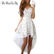 DeRuiLaDy сарафан женско сарафаны платье мода досуг белое туники платье летние сарафаны сексуальный кружево пляжные платье длинное