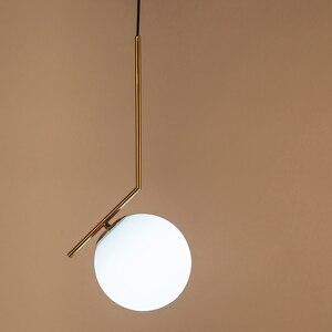 Image 2 - Подвесная лампа для помещений Современная Подвесная лампа для спальни, украшение для гостиной, стеклянный абажур со светодиодный Ной лампочкой E27 AC90 260V
