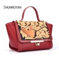 SHUNRUYAN Fashion Luxury Ladies Package Cowhide Leather Messenger Bag Bird Flower Pattern Satchel Female Handbag Shoulder