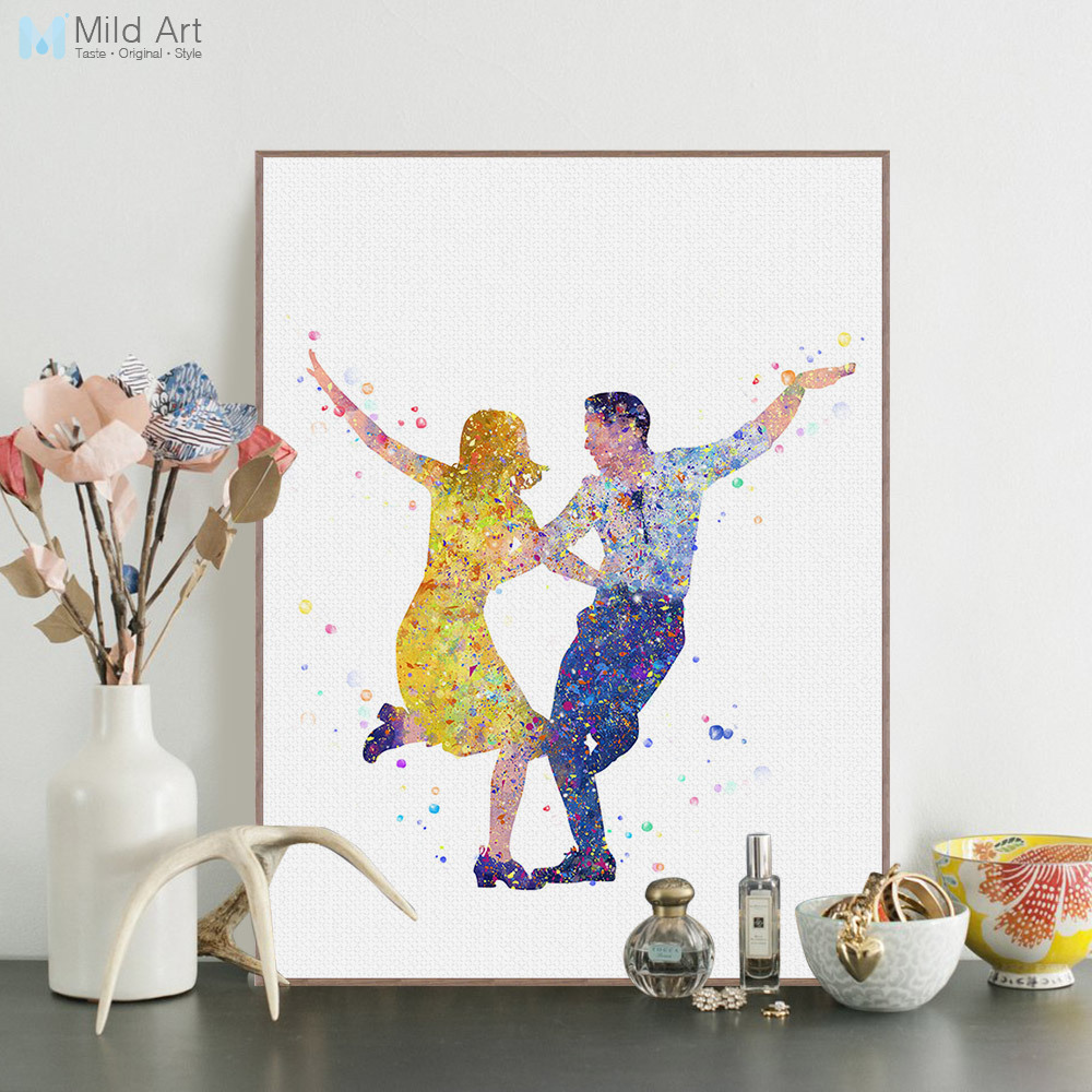 Watercolor La La Land Oscar Dance Romantic Love Movie Poster Prints Nordic Wall Art Pict ...