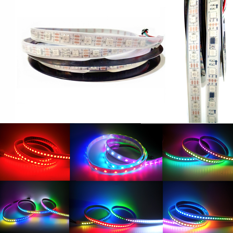 цены ws2811 ws2812 50CM/1M/5M Waterproof 5050 RGB LED Strip Light 30/60/144 led/m DC 5v 12v Addressable Dream Color led Stripe Tape