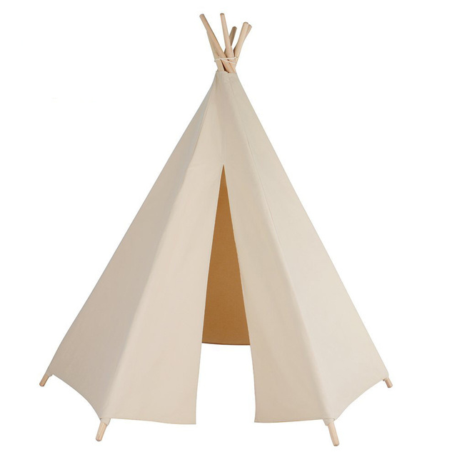 6-poles beige teepee color kid play tent cotton canvas kids teepee white playhouse fabric  sc 1 st  AliExpress.com & 6 poles beige teepee color kid play tent cotton canvas kids teepee ...