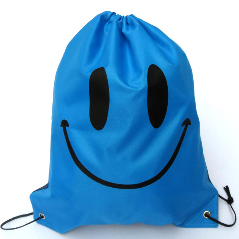 30PCS / LOT Women Smile Drawstring Bag Oxford Waterproof Cute Backpack Large Capacity Pouch Travel Reusable Pouch Wholesale