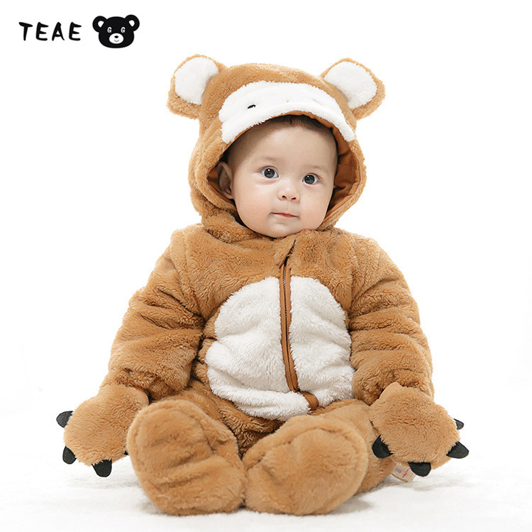TEAEGG Halloween Monkey Baby Costume Flannel Fancy Winter Animal Cosplay Overall Jumpsuit for boys girls Newborn Outfit Romper