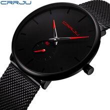 CRRJU лучший бренд класса люкс кварцевые часы мужские Повседневное Черный Япония кварц-часы из нержавеющей стали лицо ультра-тонкий часы мужской Relogio 2150