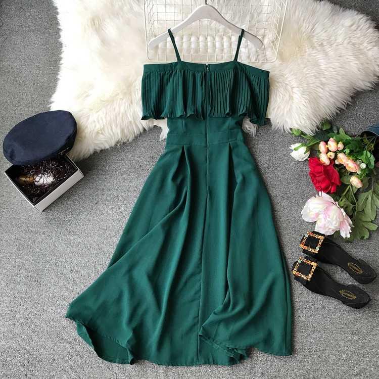 2019 женское летнее платье корейское милое плиссированное платье с открытыми плечами Boho пляжное вечернее платье женские платья s Шифон Vestidos Midi 1662