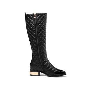 Image 4 - MORAZORA grande taille 34 45 chaude 2020 nouvelle haute qualité genou bottes automne hiver mode cuir bottes femmes moto bottes