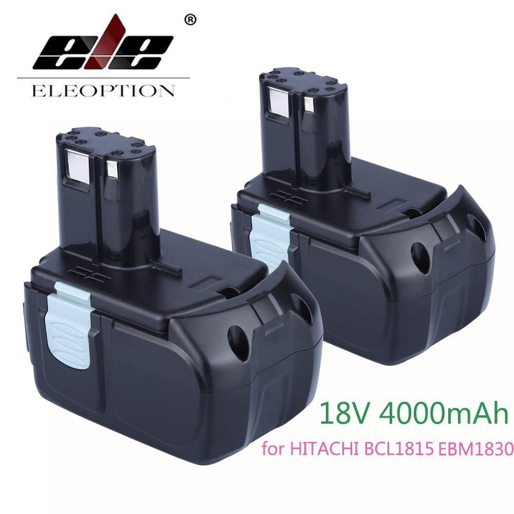 ELEOPTION 2PCS 18V 4000mAh Li-ion Battery For Hitachi BCL1815 EBM1830 327730 327731 UB 18D DS 18DL WH 18DL eleoption 2pcs 18v 4000mah li ion rechargeable power tool battery for hitachi bsl1830 bsl1840 330067