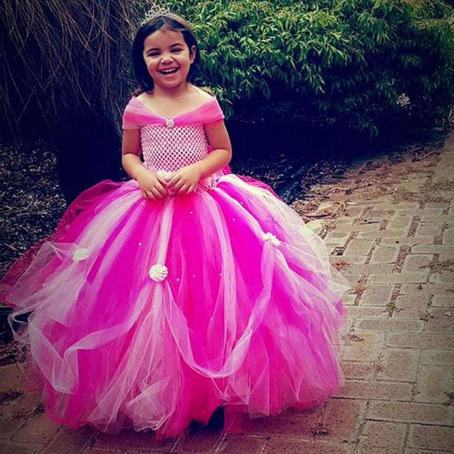 Beautiful Princess Tutu Gown for Weddings Birthday Dress Baby Girl Flower Tutu Dress Glittery Children Fancy Party Christmas Costumes (9)