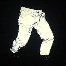 רעיוני מכנסיים גברים 2017 מותג היפ הופ ריקוד ניאון מכנסיים מזדמנים Harajuku לילה ספורט Jogger מכנסיים אפור