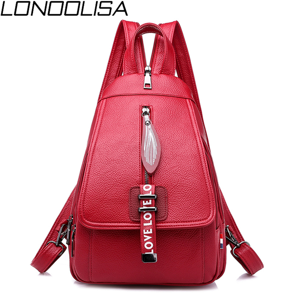 Popular Wild Fashion Ladies Chest Bag Multi-function Soft PU Leather Solid Shoulder Bag Light Waterproof Small Backpack