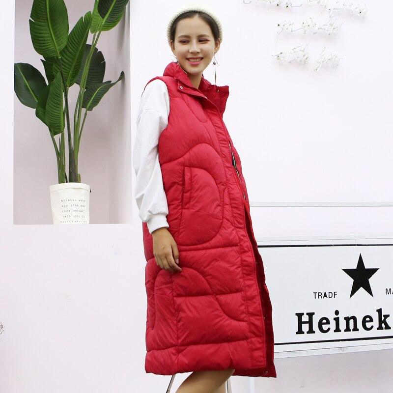 HETOBETO Coton Gilet Femmes Parka Nouvelle Hiver Manteau Femmes Veste Gilet Long Slim Capuche Épais Chaud Femelle Gilet Vêtements Survêtement