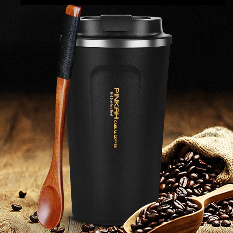 Pinkah 380 500ml 304 Stainless Steel Thermo Cup Travel Coffee Mug with Lid Car Water Bottle