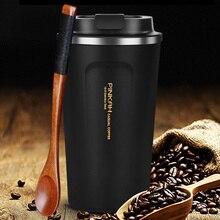 Termo de acero inoxidable 380 y 500ml, taza de café de viaje con tapa, botella de agua para coche, termo de vacío, regalo, gran oferta