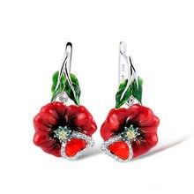 f499208f5c4d 925 de plata esterlina amante pareja pendientes flor roja esmalte y Gran  Piedra de Color aretes para las mujeres de moda de joye.