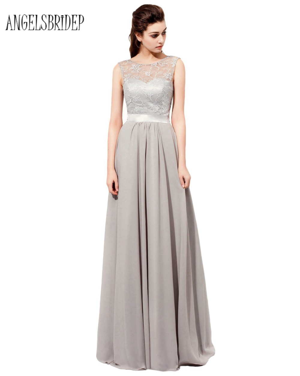Floor Length Silver Bridesmaid Dresses Featuring Sheer Bateau Neck Vestido De Festa Casamento Chiffon Party Dress Formal Gown In From
