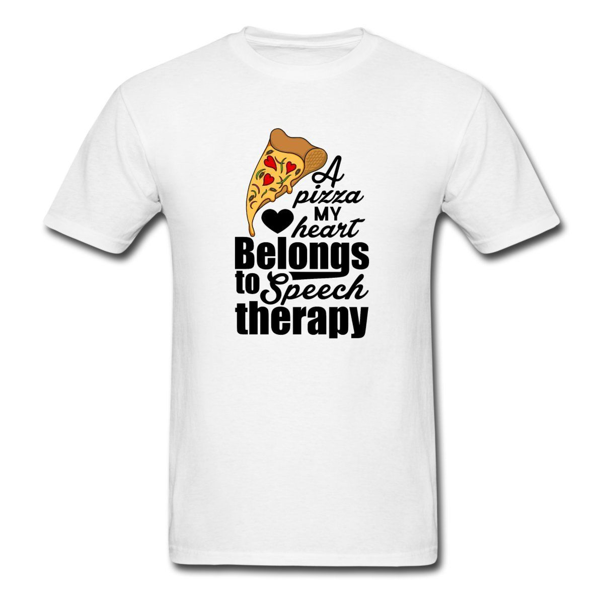 Cool Graphic T Shirts Novelty Short Crew Neck Mens Speech Therapy Pun A Pizza My Heart Tees image