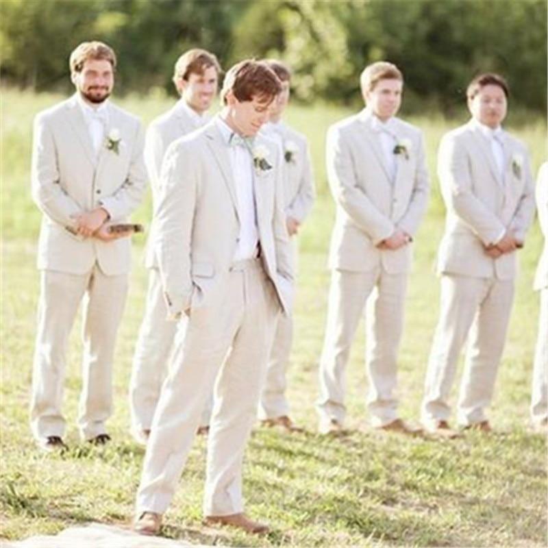 Casual Linen Beige Mens Piece Suits Wedding Suits Slim Fit Groomsmen Tuxedos Prom Blazer Custom Summer Linen Vest+Pant