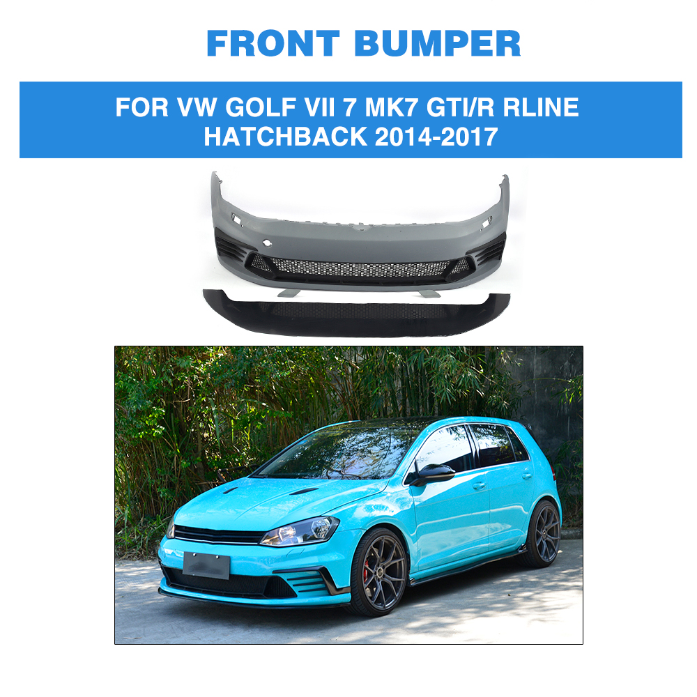 PU Unpainted Auto Car <font><b>Front</b></font> <font><b>Bumper</b></font> Body kit for Volkswagen <font><b>VW</b></font> <font><b>GOLF</b></font> VII <font><b>7</b></font> MK7 <font><b>GTI</b></font> / R Rline Hatchback 2014-2017 image