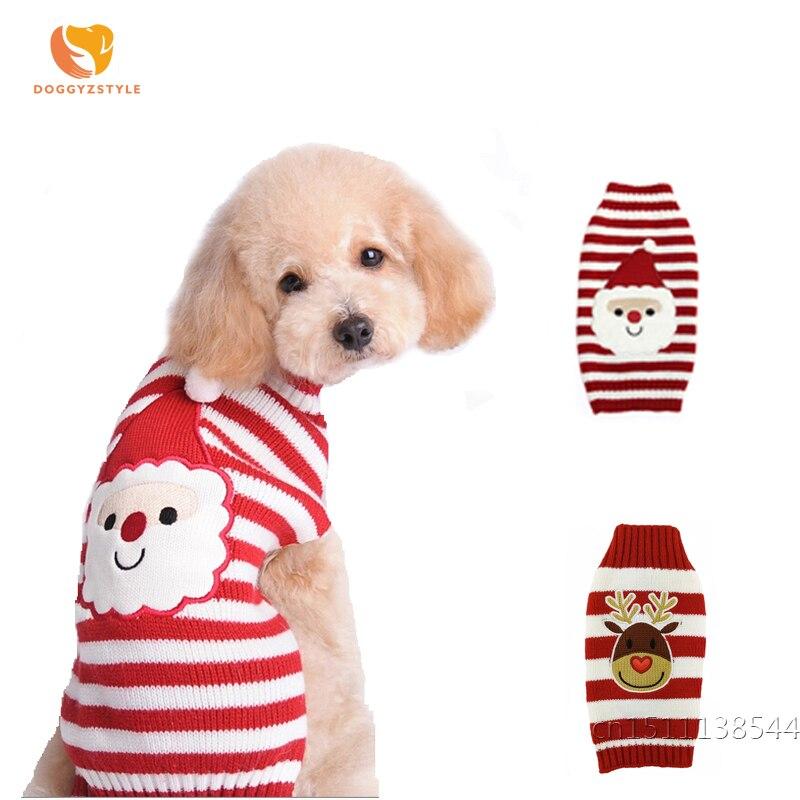 Santa Gezicht Ontwerp Hond Trui Winter Warm Rendier Knit