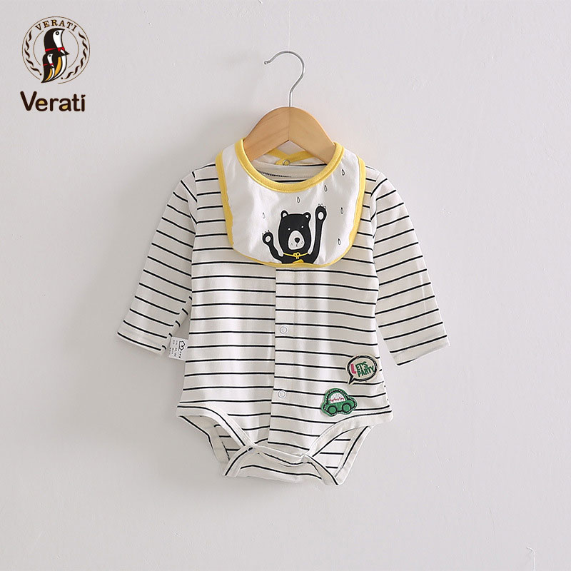 VERATI 0-2 Year Old Baby 2018 Summer New Soft Bodysuits With Cute Bib Stripes Baby Onesie Baby Overalls Onesie Bodysuits V060