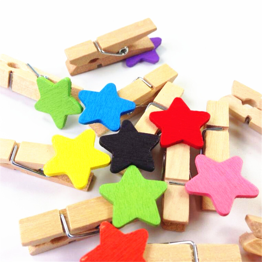 10pcs/lot Cute Mini Diy Multifunction Wooden Clip Colorful Stars Decoration Photos Bag Clips Fashion Tools Retail