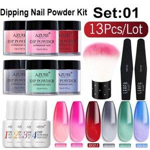 Image 1 - Azure Beauty 13Pcs/Lot Shiny Gradient Color Dipping Powder Chameleon Sequins Nail Powder Natural Dry Nail Art Brush Tools Set