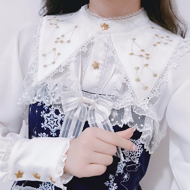 Fairy Women White Long Sleeve Lolita Blouse Golden Constellation Embroidered Shirt Tops