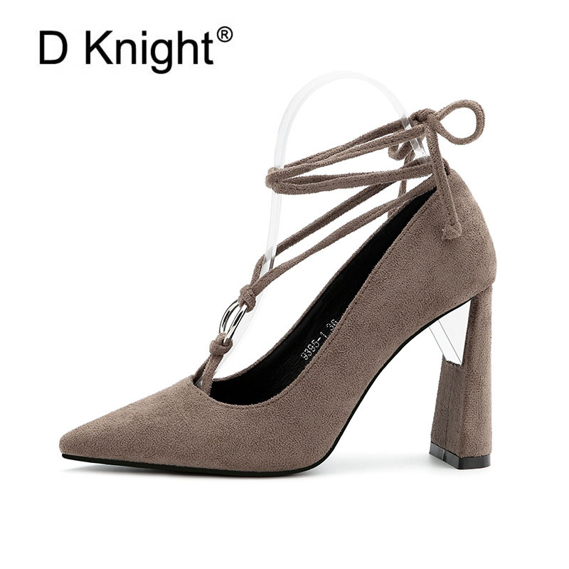 New Fashion Cross-tied Square Heels Women's Pumps Sexy Pointed Toe High Heels Women Shoes Elegant Ladies Evening Party Shoes hee grand cross tied women sandals summer sexy square high heels flock wedding shoes woman elegant pumps ladies 3 colors xwz2049