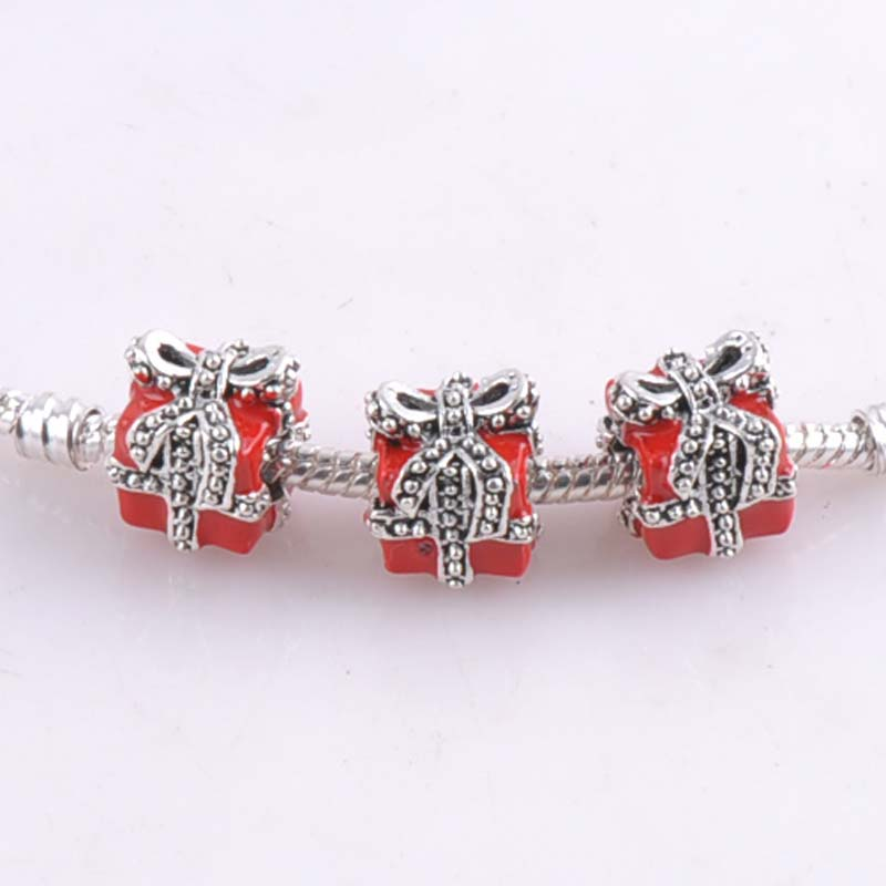 10 pcs 11mm Silver Red Christmas Gift Spacers Beads charms Fit Pandora Charms Bracelets Jewelry Handmade DIY DK-063