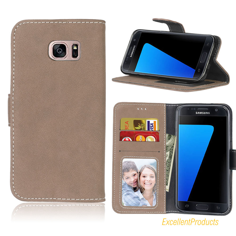 For Samsung S7 Mobile Case Card Scrub PU Ultra thin Retro Wallet Holster for Samsung S7 phone Cover Case