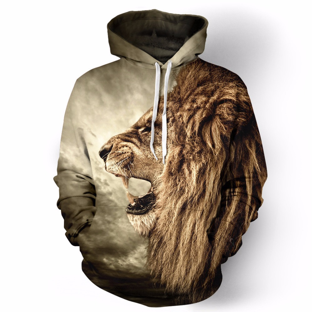 Winter Autumn Lion Digital Printing Men/women Tracksuits 3D Hooded Hoodies Cap And Pockets Hoody Tracksuits