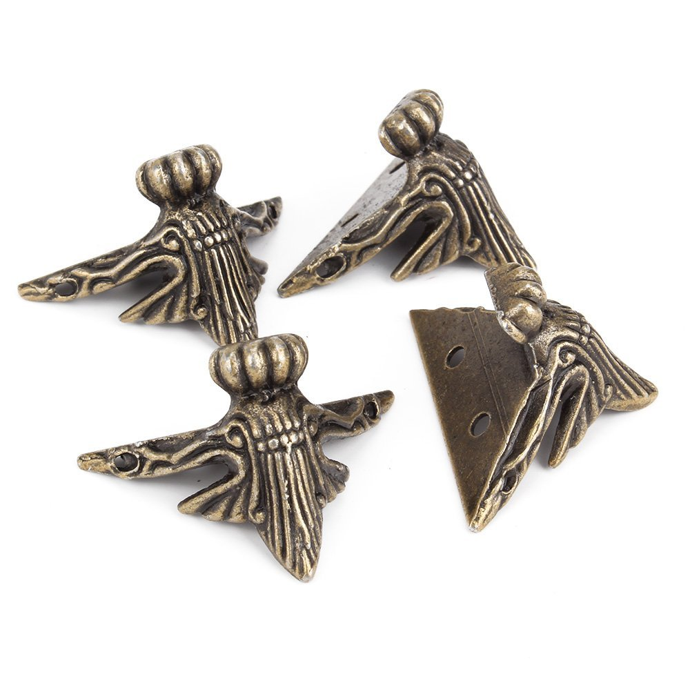 8pcs 4x3cm Imitation Bronze Small Feet Zinc Alloy Foot Vintage Zinc Alloy Wooden Box Legs Wrap Angle Hardware Supporting Corner