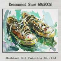 Factory Wholesale High Quality Handmade Plimsolls Oil Painting On Canvas Hand Painted Sneaker Oil Picture For