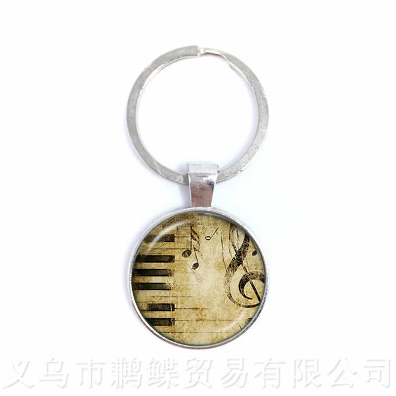 Music Art Creativity Keychains 25mm Glass Cabochon Pendant Fashion Creative Men Women Keyring Souvenirs Gift Teacher's Day