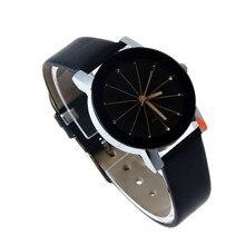 WoMen Quartz Dial ClockWatches Girls 2016 Feminine Clock Leather-based Wrist Watch Spherical Case Femme Relogio Feminino