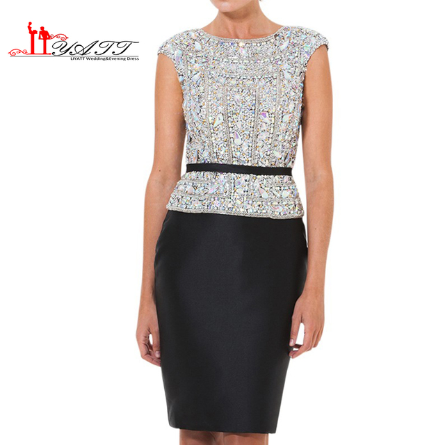 2017 New Arrival Black Short Cap Sleeves Woman Rhinestone robe de soiree silver Sequin Cocktail Dress