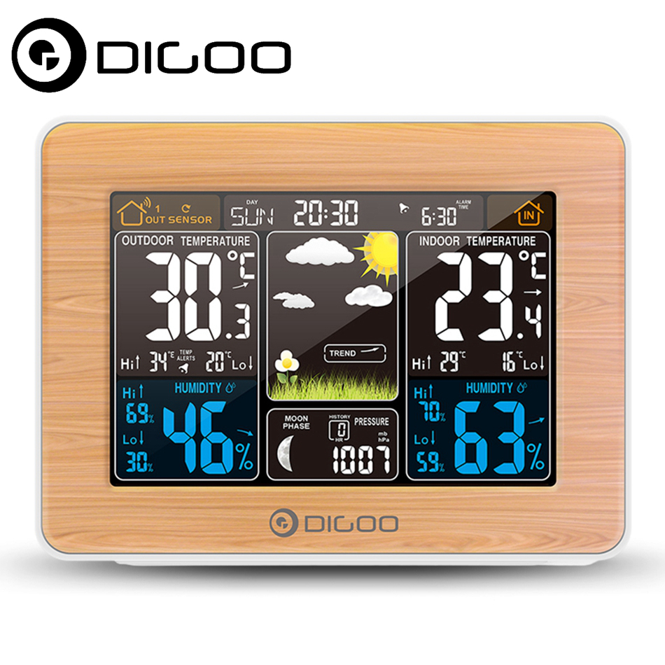 DIGOO DG-EX002 Wood Weather Station HD Outdoor Indoor Thermometer Hygrometer Temperature Humidity Weather Forecast Moon PhaseDIGOO DG-EX002 Wood Weather Station HD Outdoor Indoor Thermometer Hygrometer Temperature Humidity Weather Forecast Moon Phase
