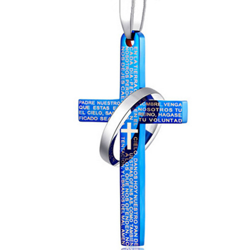 New Arriaval Men Stainless Steel <font><b>Cross</b></font> Pendant <font><b>Necklace</b></font> <font><b>Vintage</b></font> Prayer <font><b>Cross</b></font> Lover Couple <font><b>Necklaces</b></font> Jewelry Gift 4 Colors image