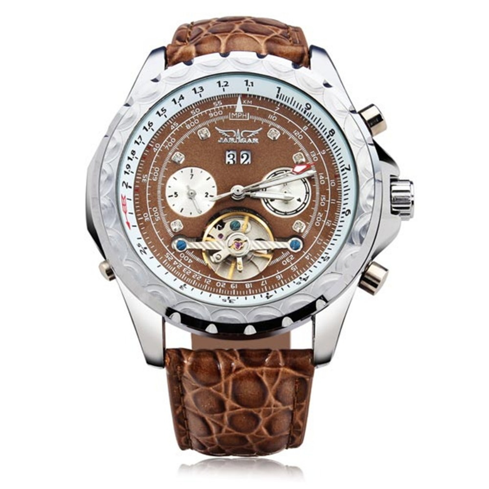 JARAGAR Brand Luxury Calendar Automatic Mechanical Tourbillon Lether Band Men Wrist Watch Men s Watches 2016