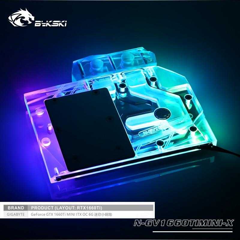 N GV1660TIMINI X bykski gpu block fit for Gigabyte RTX1660TI MINI ITX OC 6G water cooling