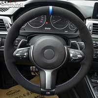 Schwarz Wildleder Auto Lenkrad Abdeckung für BMW F87 M2 F80 M3 F82 M4 M5 F12 F13 M6 F85 X5 M F86 X6 M F33 F30 M Sport