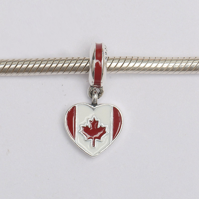 871ae6501 New 925 Sterling Silver Bead Charm Red & White Enamel Canada Heart Flag  Pendant Beads Fit Pandora Bracelet Bangle DIY Jewelry-in Charms from Jewelry  ...